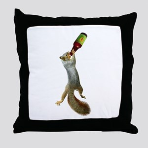 Squirrel Drinking Beer Throw Pillow