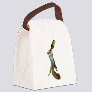 Squirrel Drinking Beer Canvas Lunch Bag