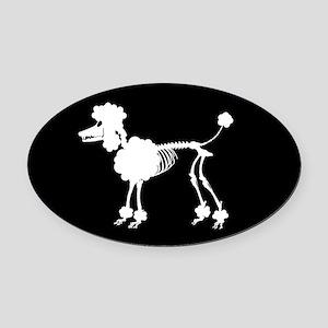 Poodle Skeleton Oval Car Magnet
