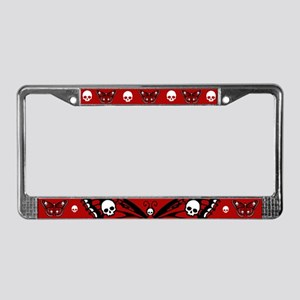 Red Skull Butterfly License Plate Frame