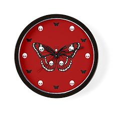 Red Skull Butterfly Wall Clock