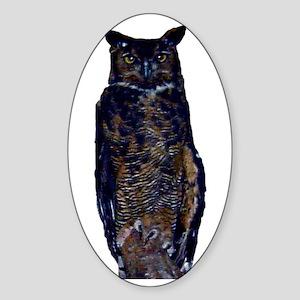great horned owl Oval Sticker