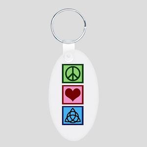 Peace Love Charmed Aluminum Oval Keychain