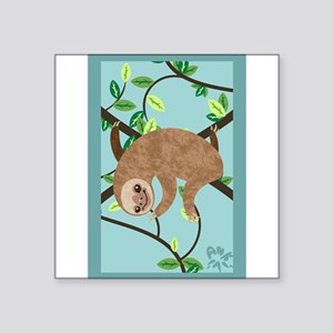 "Sleepy Sloth Square Sticker 3"" x 3"""