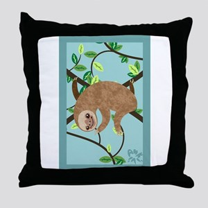 Sleepy Sloth Throw Pillow