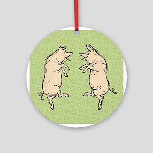 Pigs dancing Vintage piggies Ornament (Round)