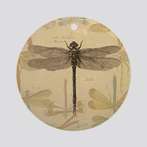 Dragonfly Vintage Ornament (Round)