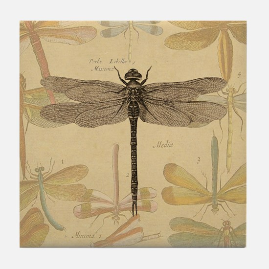 Dragonfly Vintage Tile Coaster