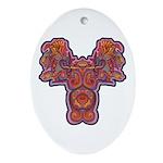 Red Quetzalcoatl Oval Ornament