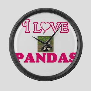 I Love Pandas Large Wall Clock