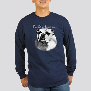 Bulldog Happy Face Long Sleeve Dark T-Shirt