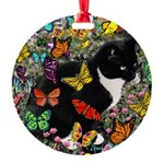 Freckles in Butterflies I Round Ornament