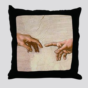 Michelangelo Creation of Adam Throw Pillow