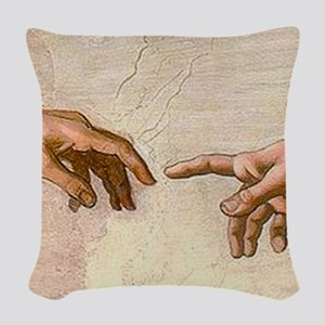 Michelangelo Creation of Adam Woven Throw Pillow
