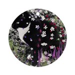 Freckles, Tux Cat in Flowers I Ornament (Round)