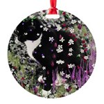 Freckles the Tux Kitty in Flowers I Round Ornament