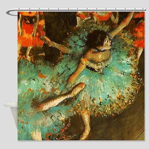 Degas Dancer Green Ballet Impressionist Shower Cur