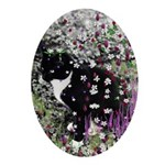 Freckles Tux Cat Flowers I Ornament (Oval)