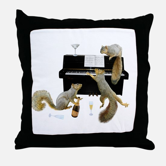 Squirrels at the Piano Throw Pillow