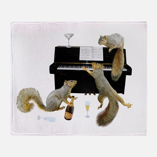 Squirrels at the Piano Throw Blanket