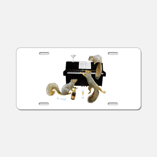 Squirrels at the Piano Aluminum License Plate
