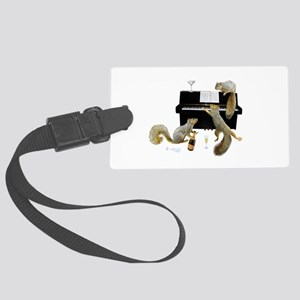 Squirrels at the Piano Large Luggage Tag