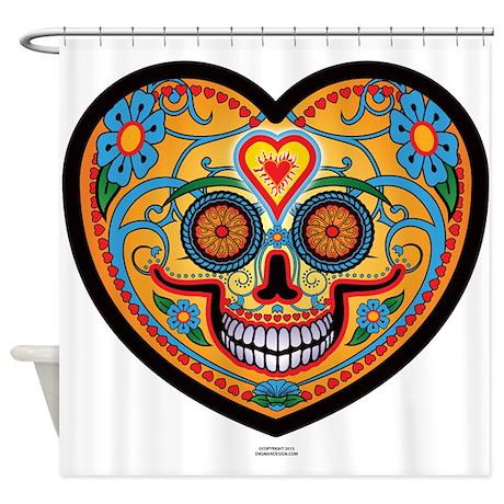 I Love El Dia De Los Muertos Shower Curtain By Robertengmanscreepytees