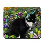 Freckles Tux Cat in Easter Eggs Mousepad