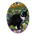 Freckles Tux Cat Easter Eggs Ornament (Oval)