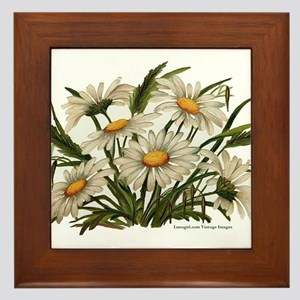 Daisies Victorian Vintage Che Framed Tile