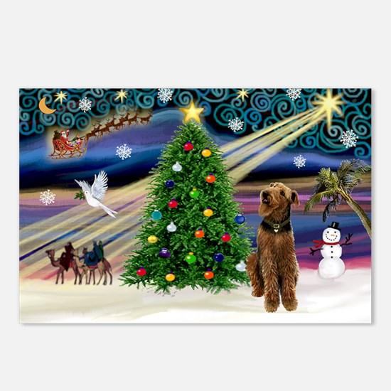 Xmas Magic & Airedale (#1) Postcards (Package of 8