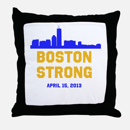 Boston Strong Blue and Gold Skyline Throw Pillow