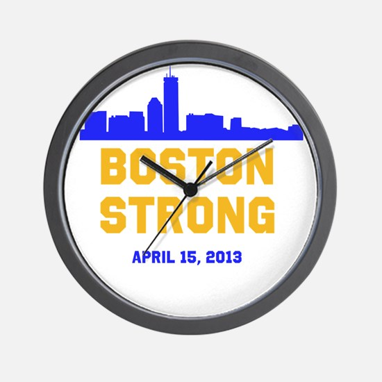 Boston Strong Blue and Gold Skyline Wall Clock