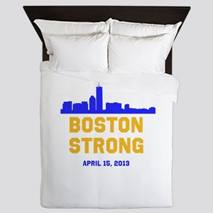 Boston Strong Blue and Gold Skyline Queen Duvet