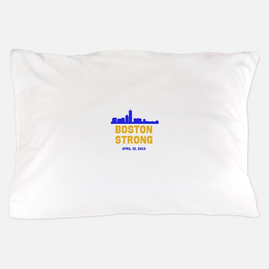 Boston Strong Blue and Gold Skyline Pillow Case
