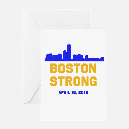 Boston Strong Blue and Gold Skyline Greeting Card