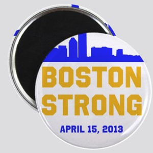 Boston Strong Blue and Gold Skyline Magnet