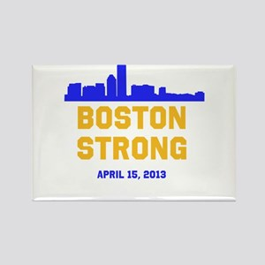 Boston Strong Blue and Gold Skyline Rectangle Magn