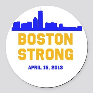 Boston Strong Blue and Gold Skyline Round Car Magn