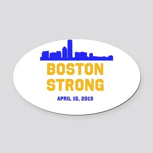 Boston Strong Blue and Gold Skyline Oval Car Magne