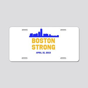 Boston Strong Blue and Gold Skyline Aluminum Licen