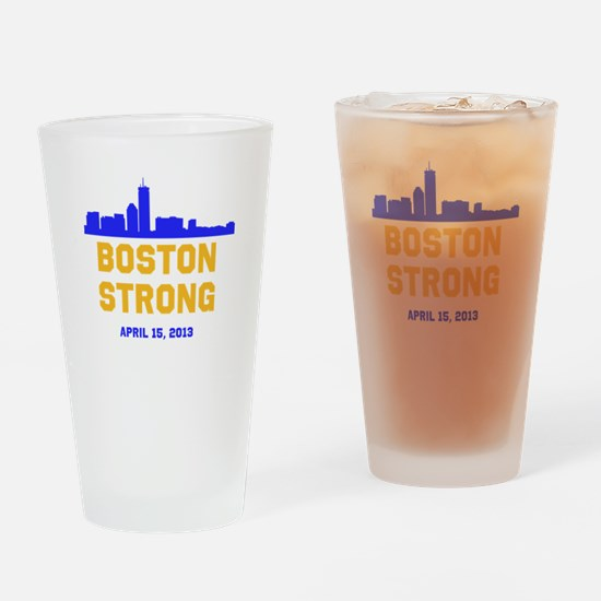 Boston Strong Blue and Gold Skyline Drinking Glass