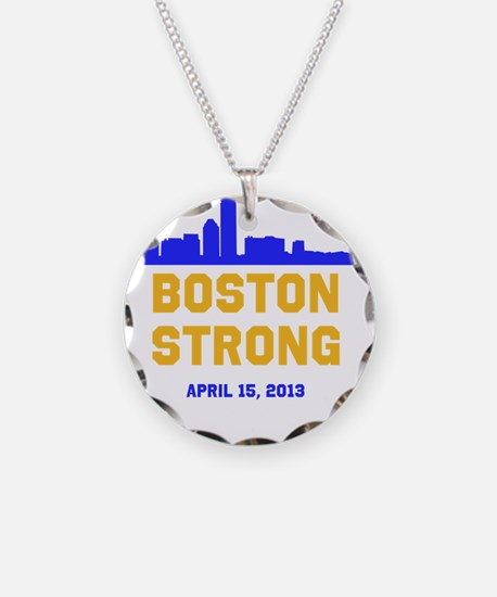 Boston Strong Blue and Gold Skyline Necklace