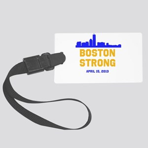 Boston Strong Blue and Gold Skyline Luggage Tag