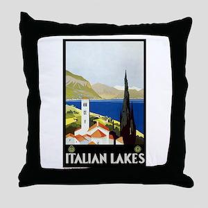 Antique Italian Lakes Travel Poster Throw Pillow