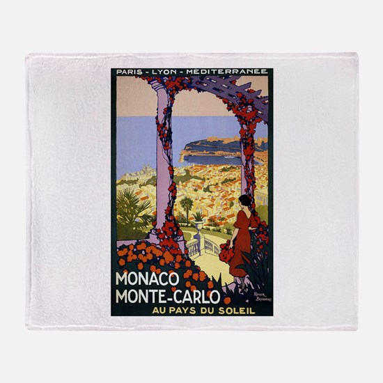 Antique Monaco Land of Sun Travel Poster Throw Bla