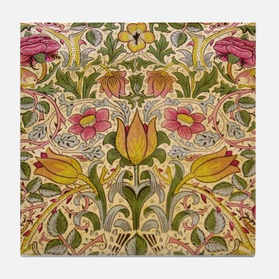 Morris Flowers and Birds design Tile Coaster