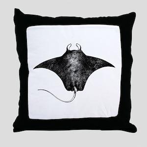Manta Ray Logo (line art) Throw Pillow