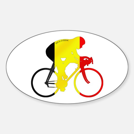 Belgian Cycling Sticker (Oval)