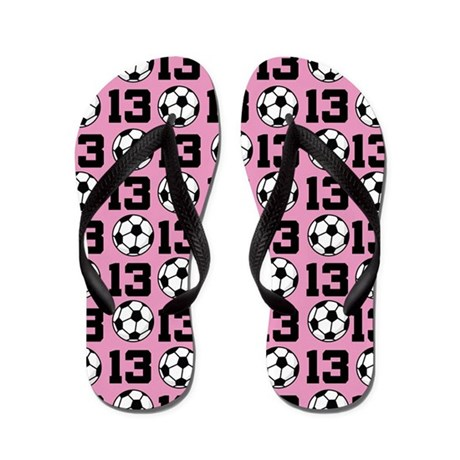 ce20ecf54c8412 Soccer Ball Player Number 13 Flip Flops by milestonessoccer